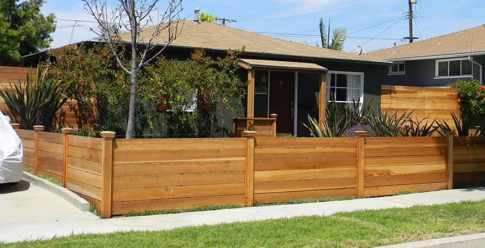 3.5 Foot Stained Hardwood Cedar Fence (horizontal Style