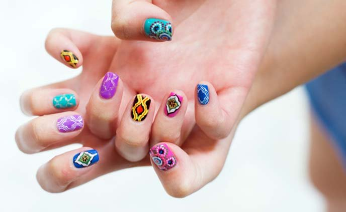 Intricately Drawn Moroccan Colorful Rainbow Nail Art Done By Glam