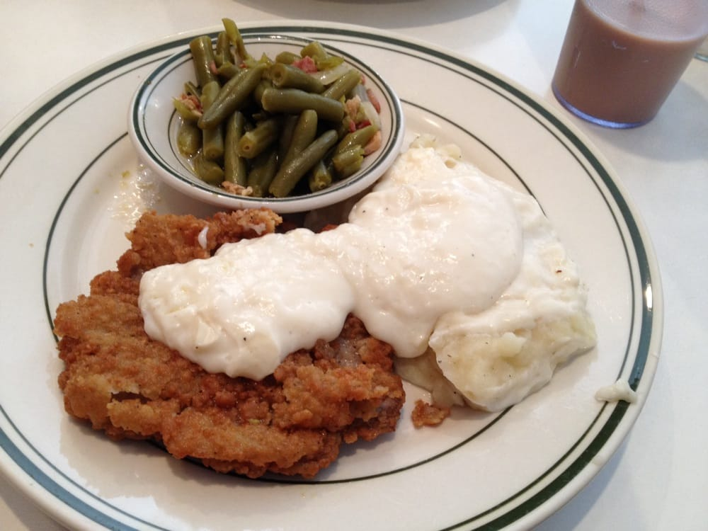 ... . Special- country fried steak with mashed potatoes and green beans