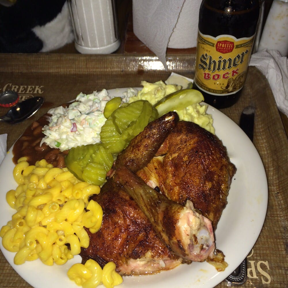 Photo of Spring Creek Barbeque - Humble TX United States. Chicken dinner plate & Chicken dinner plate. $10.95 includes chicken and all the sides you ...