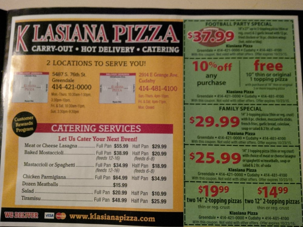 Coupons for ricardo's pizza greendale