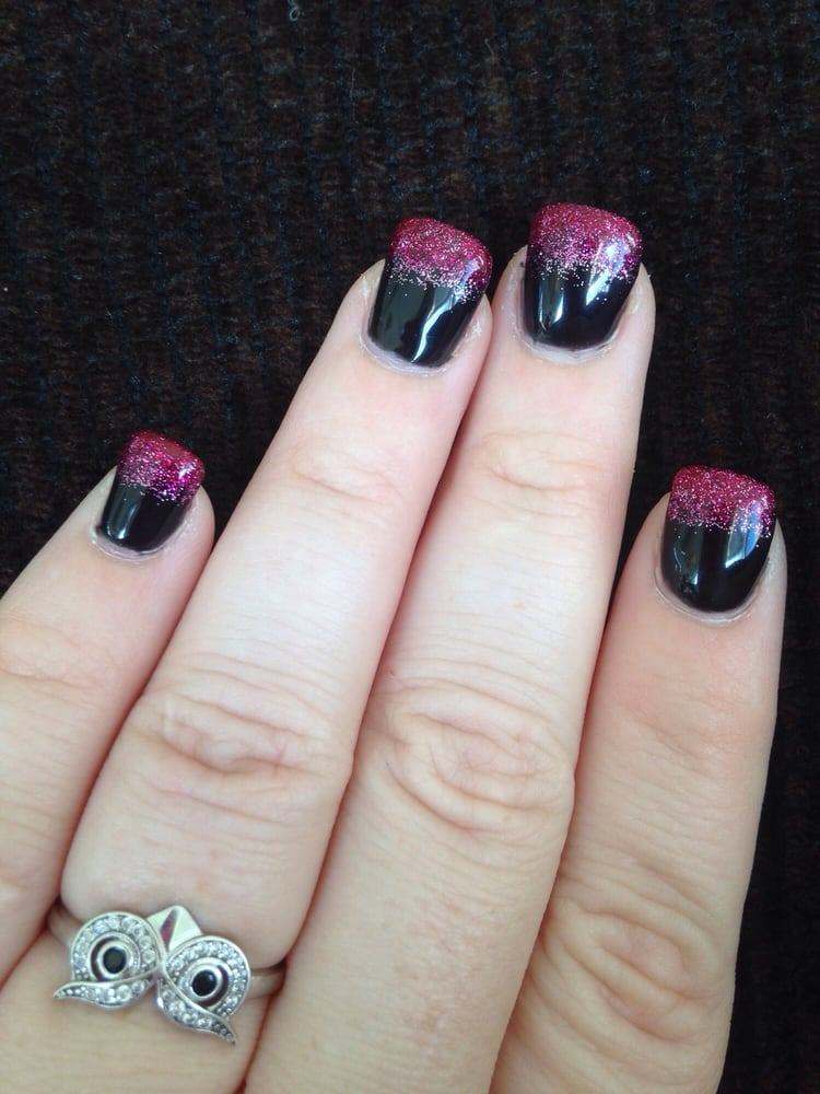Pink glitter ombré tips over black gel solar nails - Yelp
