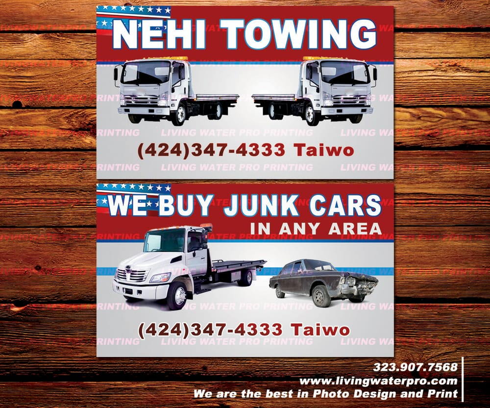 Towing, Junk Cars, Auto Transportation Business Cards Printing ...