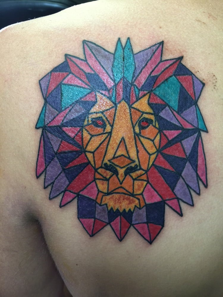 Geometric Lion Tattoo In Color Yelp