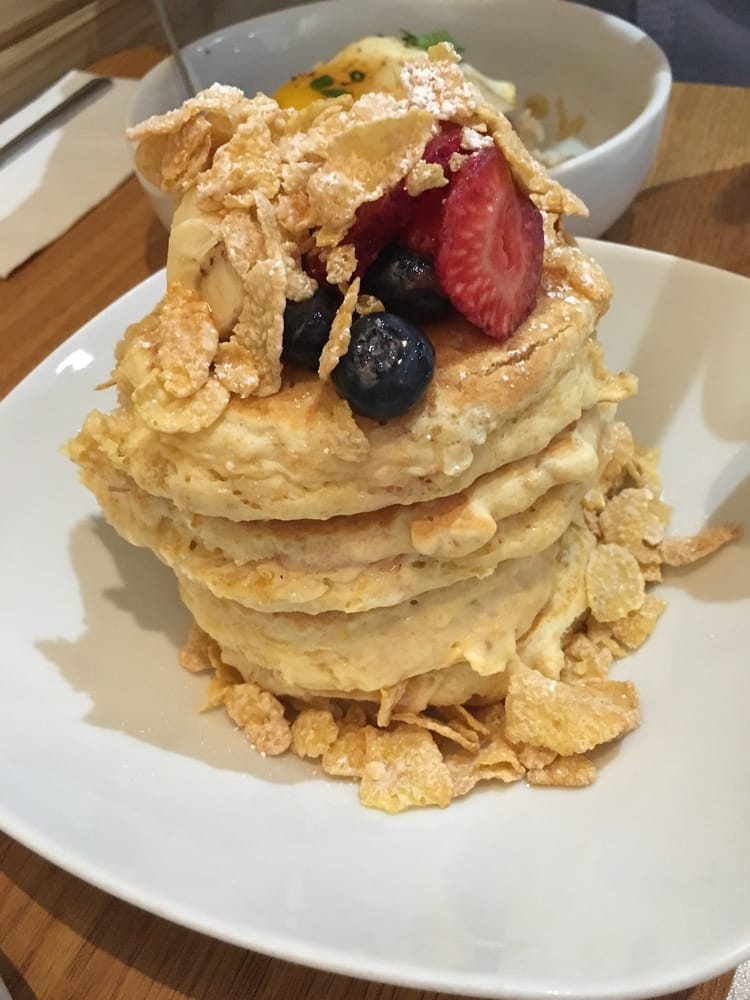 Scratch Kitchen And Bake Shop milk and cereal pancakes ($10). very thick pancakes - yelp
