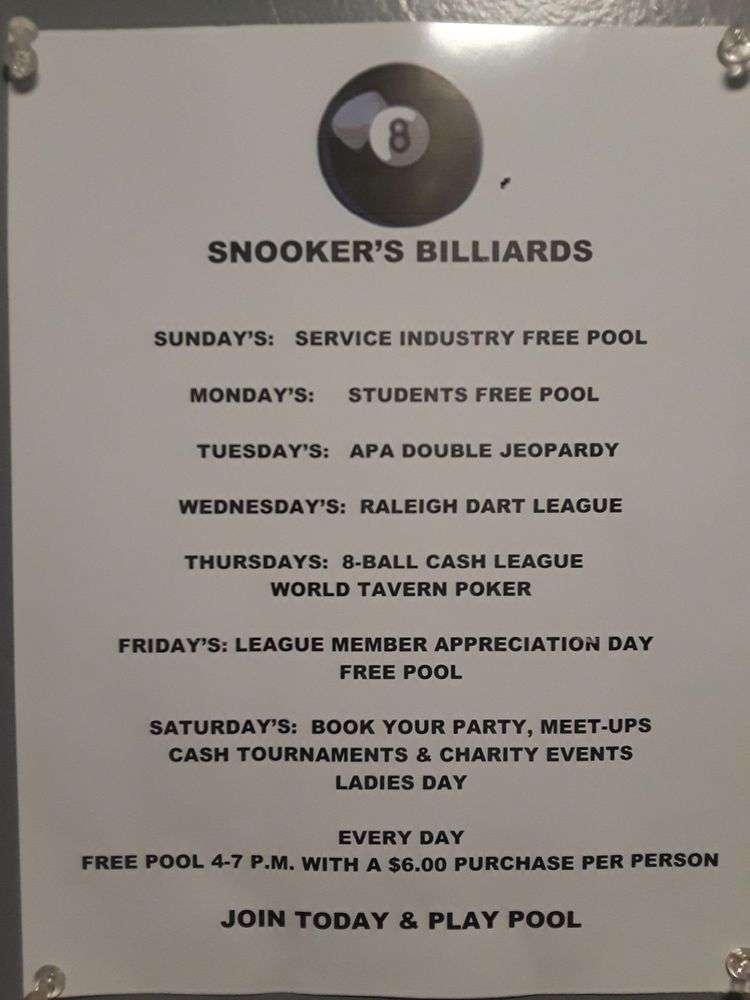 Snooker's Sports Pub - 3520 Wade Ave, Raleigh, NC - 2019 All