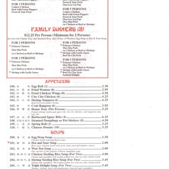 Lucky Dragon Chinese Restaurant Menu