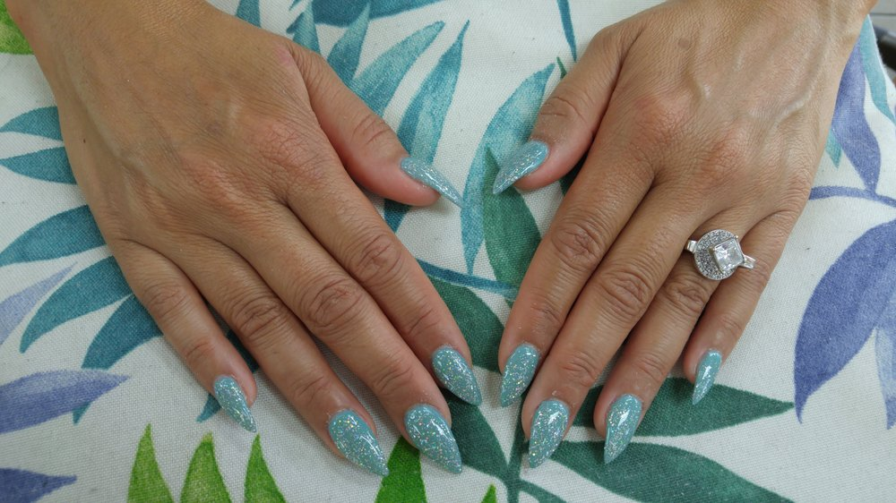 Ice Mint and Galaxy DNA brand gel polished Stiletto nails... Looking ...