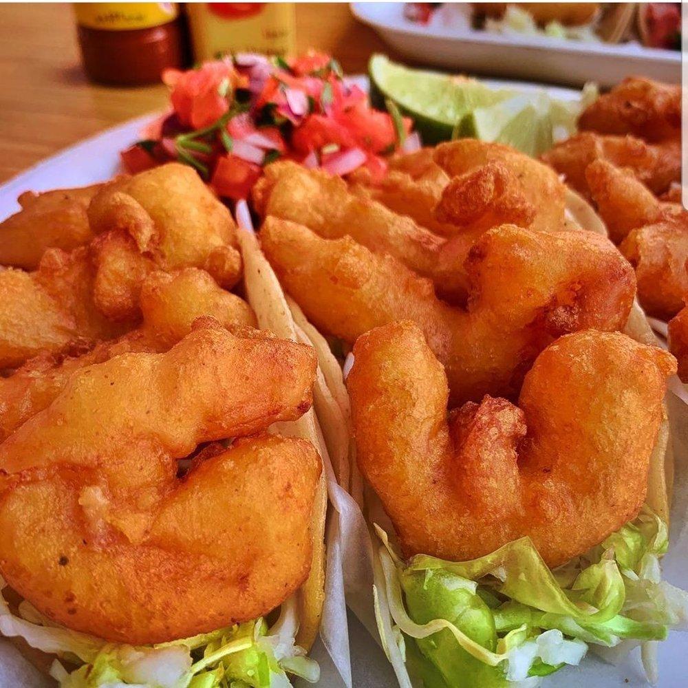 Food from Baja King Fish Tacos