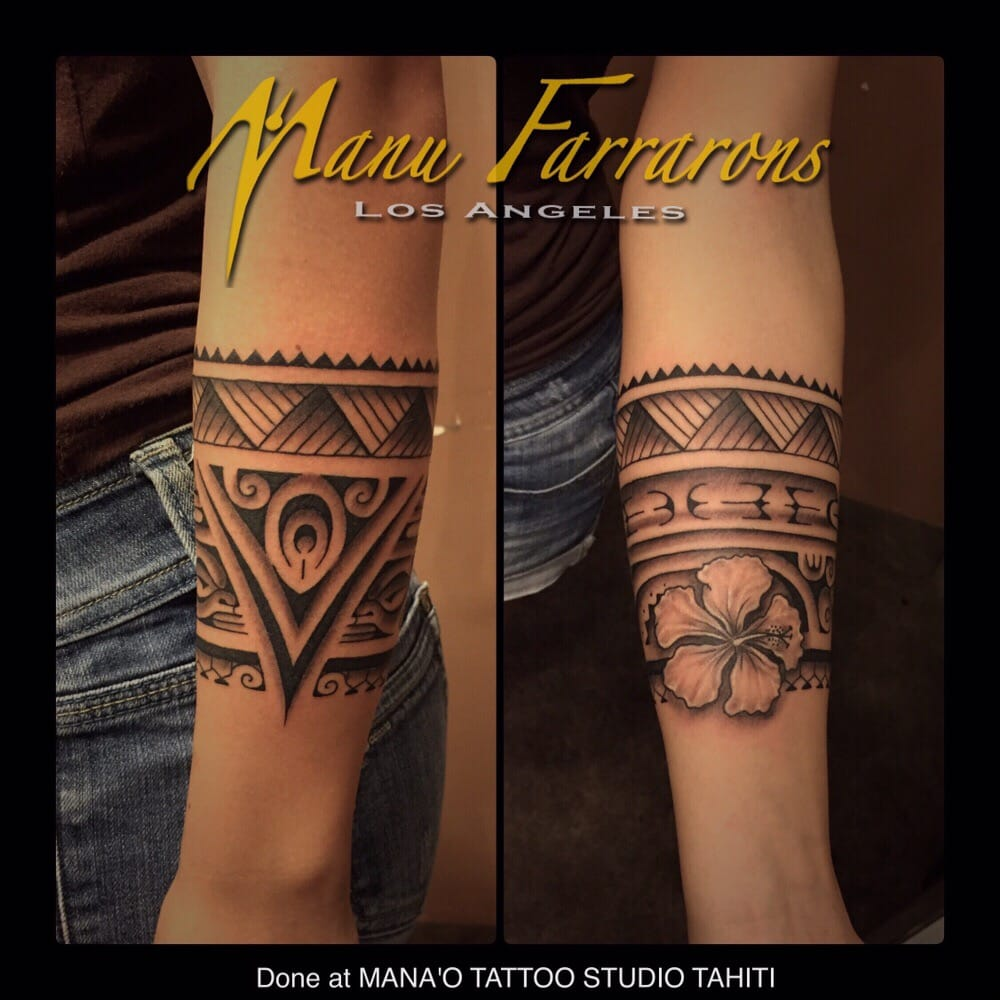Woman 39 s arm band done during a trip to tahiti yelp for Polynesian tattoo near me