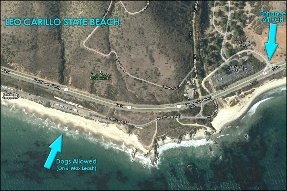 Map Showing Dog Friendly Area At Leo Carillo State Beach