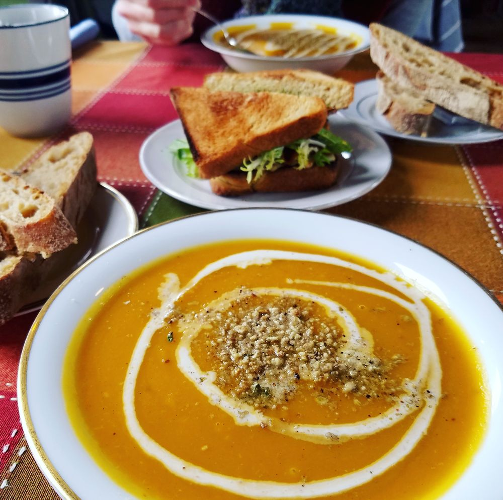 Delicious lunch butternut squash bisque and an apple for Cama sandwich
