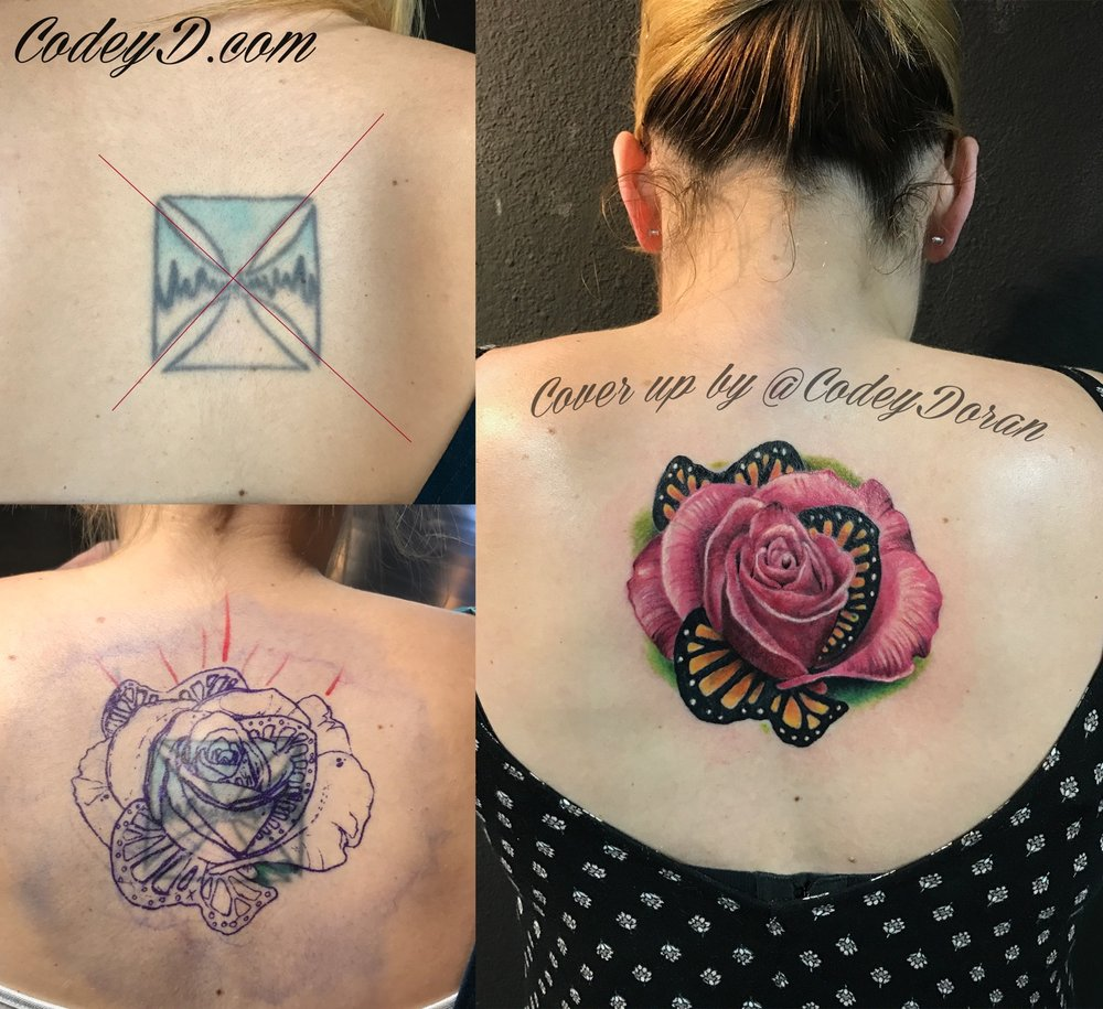 Amazing cover up of iron cross with the most beautiful for Tattoo convention los angeles