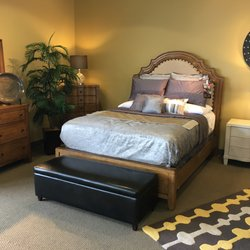 states kinsley queen bedroom set up in our st louis rental showroom