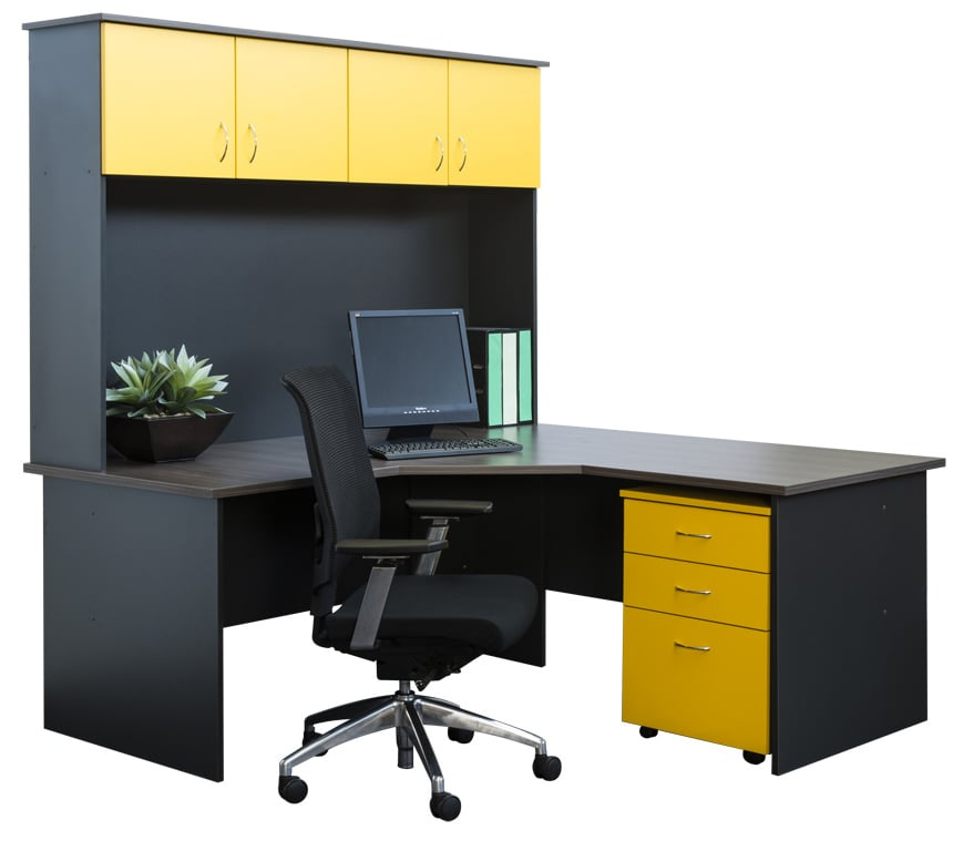 Stupendous Corner Workstation And Hutch In Custom Colour Combo Yelp Download Free Architecture Designs Rallybritishbridgeorg