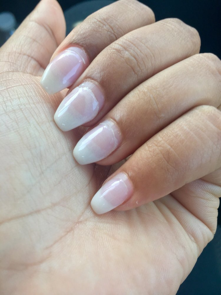 Two weeks later (dip powder on natural nails, lifting on some nails ...