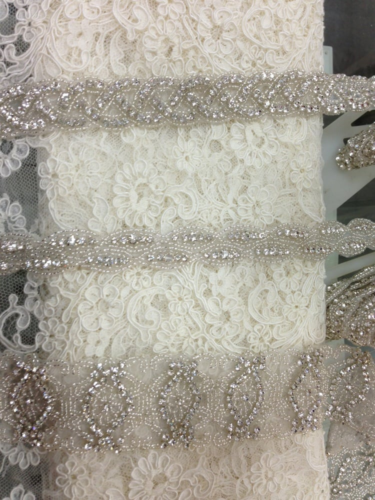 Beaded trim sells by the yard diy into a belt sash yelp for Fabric by the yard near me