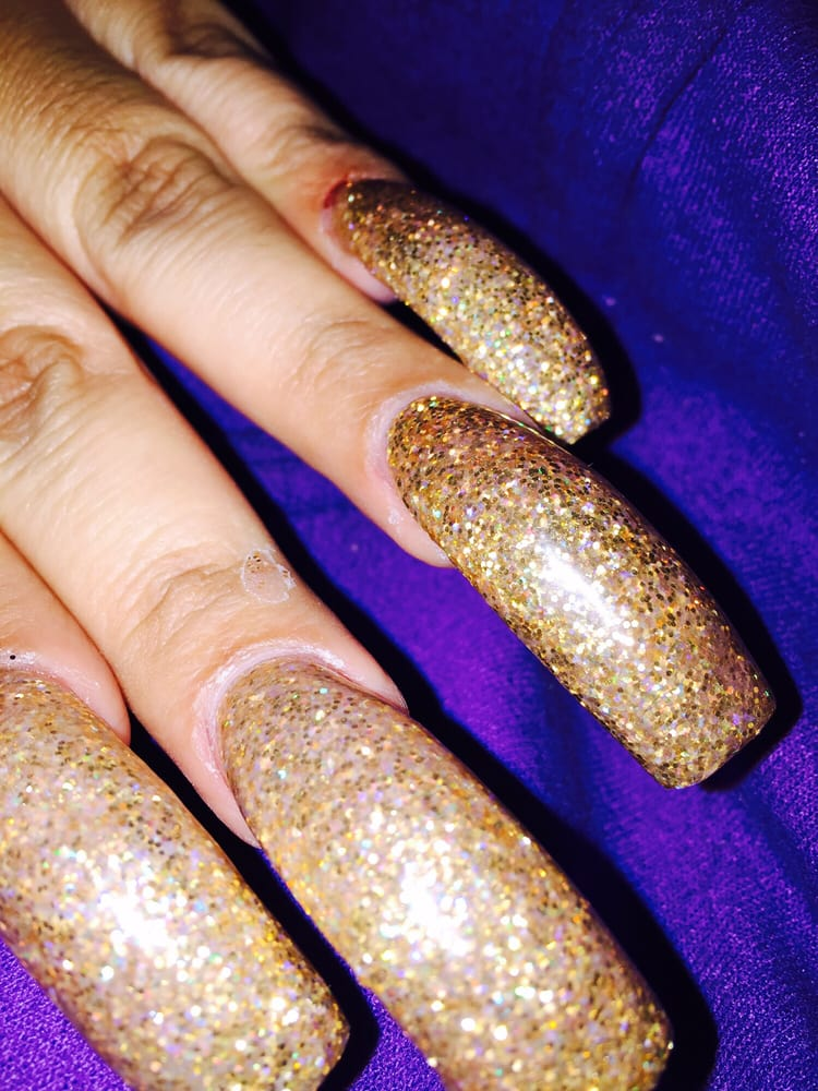 Gold glitter powder long square nails - Yelp