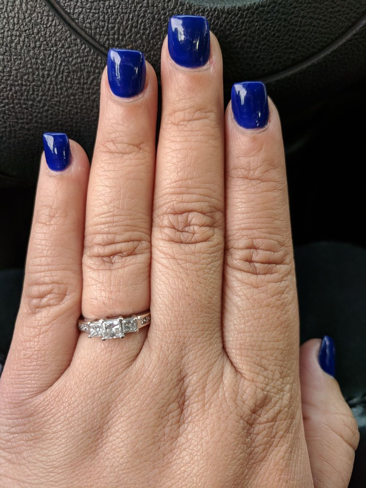 The color is regular OPI polish in Navy-gation...or something like ...