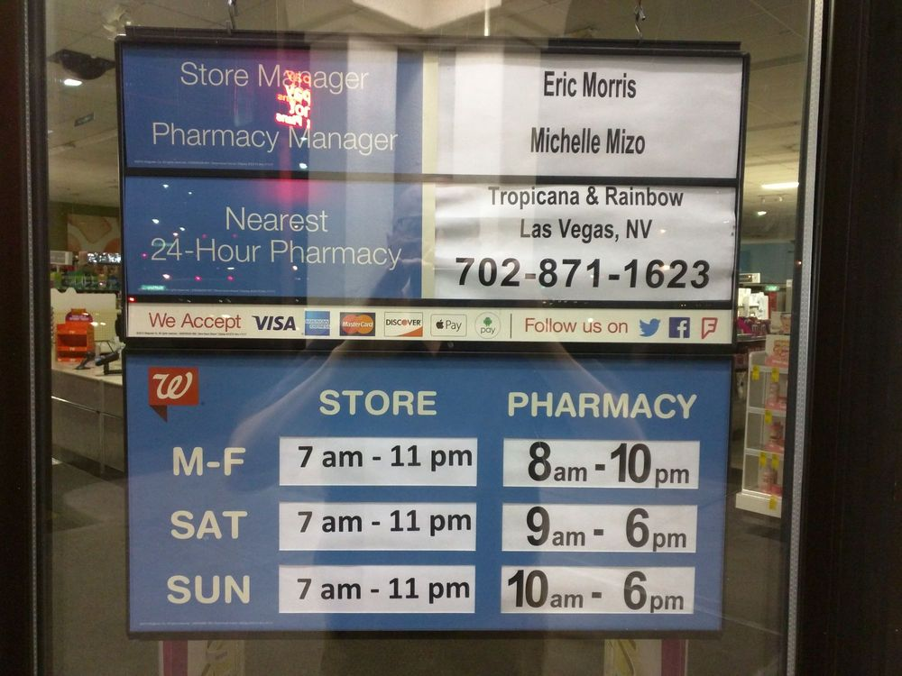 Store and pharmacy hours sign on 20 Oct 2017 - Yelp