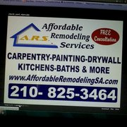 Signage Photo of Affordable Remodeling Services   San Antonio  TX  United  States Affordable Remodeling Services   Contractors   4035 Naco Perrin  . Remodeling Companies San Antonio. Home Design Ideas