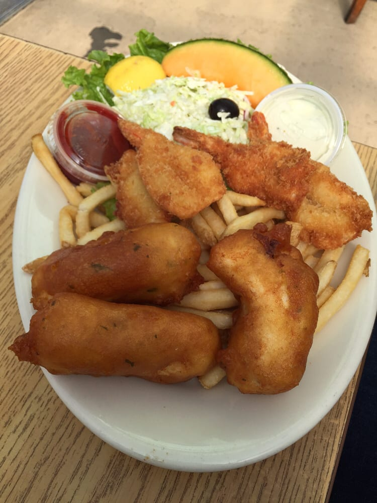 Fish halibut chips and fried shrimp with coleslaw yelp for Phil s fish market eatery