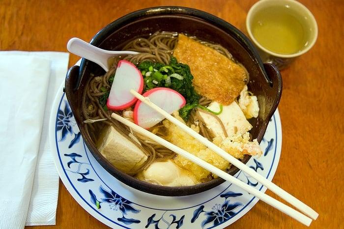 Sukiyaki, Nabeyaki udon and soba, takoyaki, sushi roll (don't ...