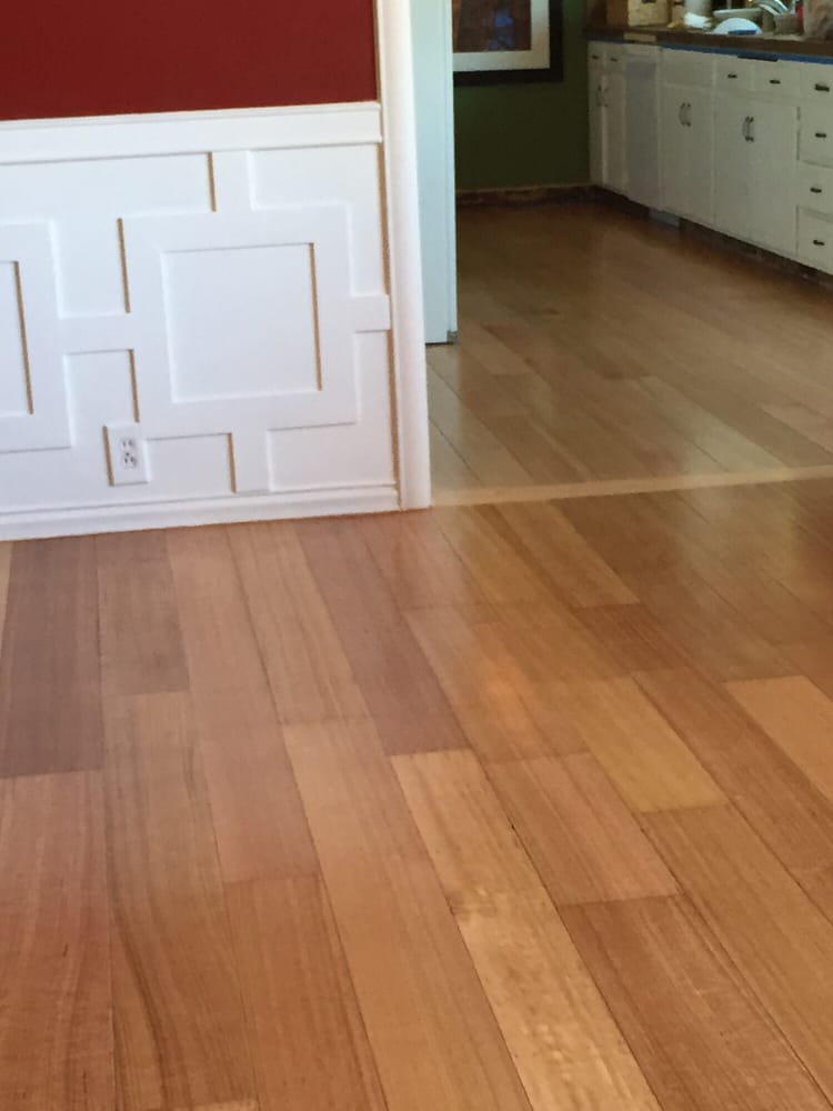 Refinished dining room floor meets new kitchen floor. - Yelp