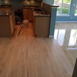 Photo Of Chicago Custom Flooring   Niles, IL, United States. Applying 1st  Coat