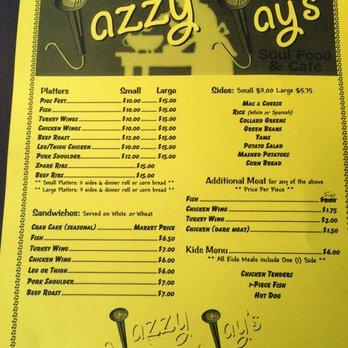 Jazzy Jay Soul Food Menu