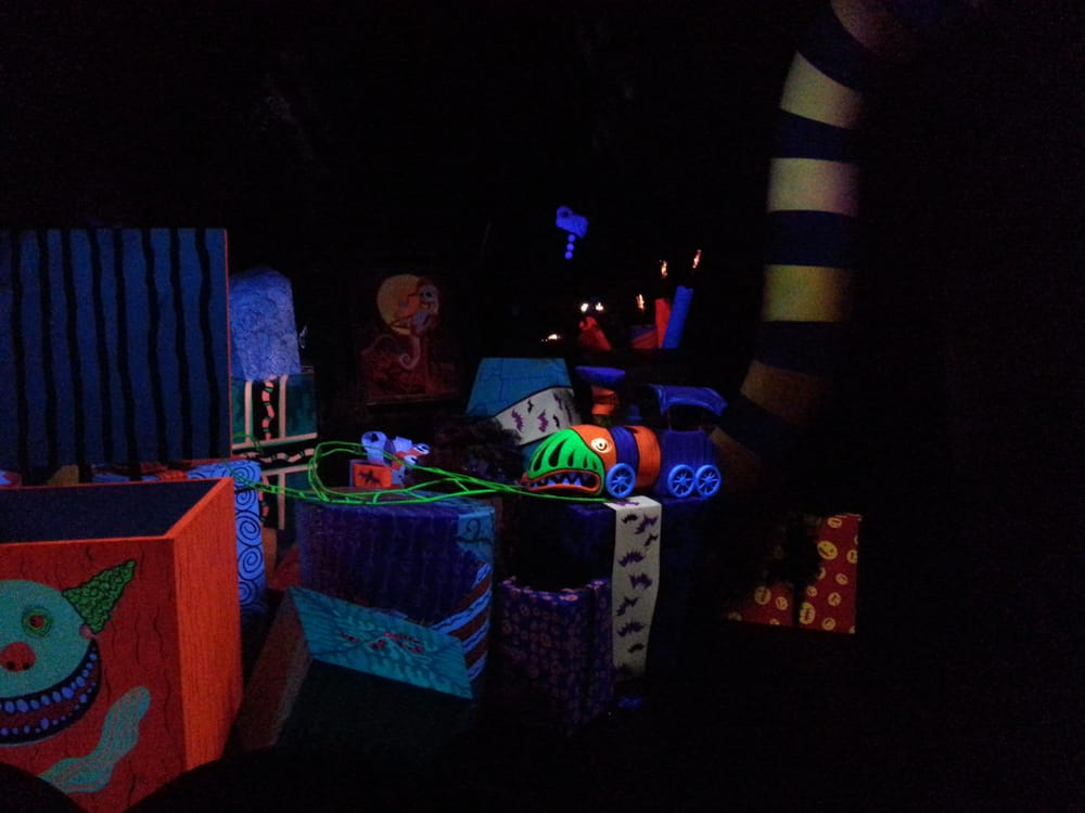 inside nightmares before christmas themed haunted mansion