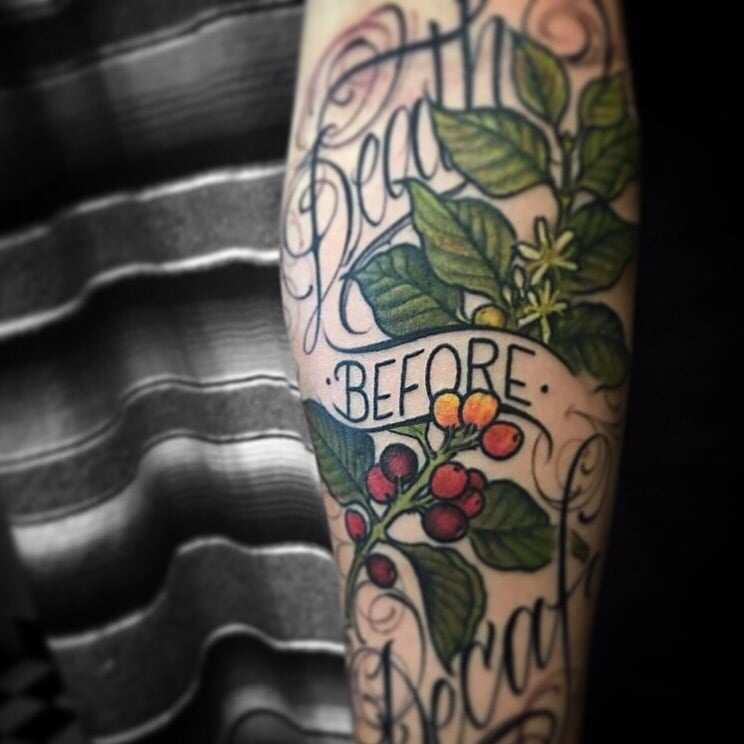 Death before decaf freehand script and artwork by daat yelp for Tattoo santa rosa