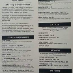 guaca mole menu