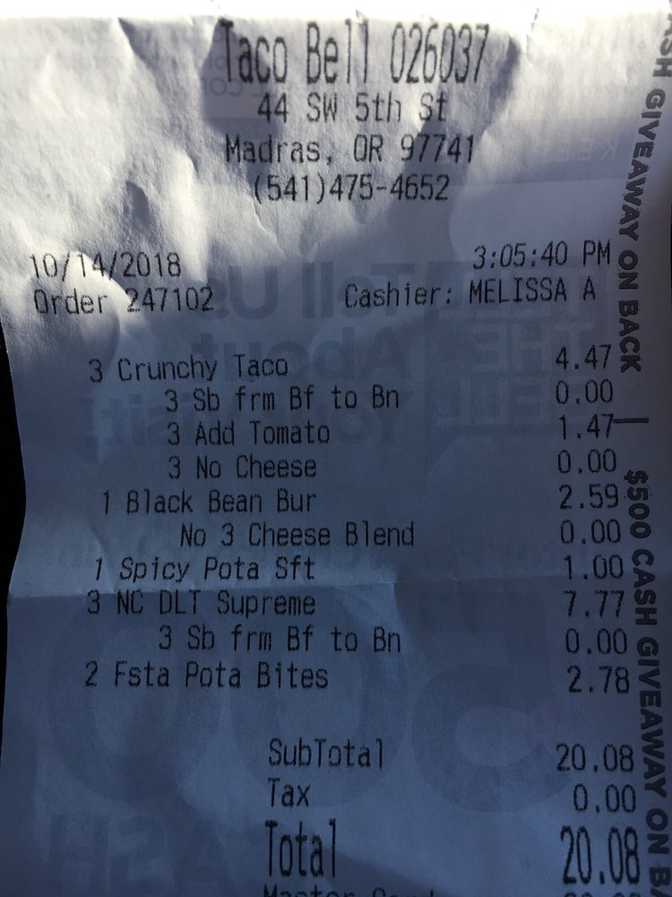 Taco Bell: 44 SW 5th St, Madras, OR