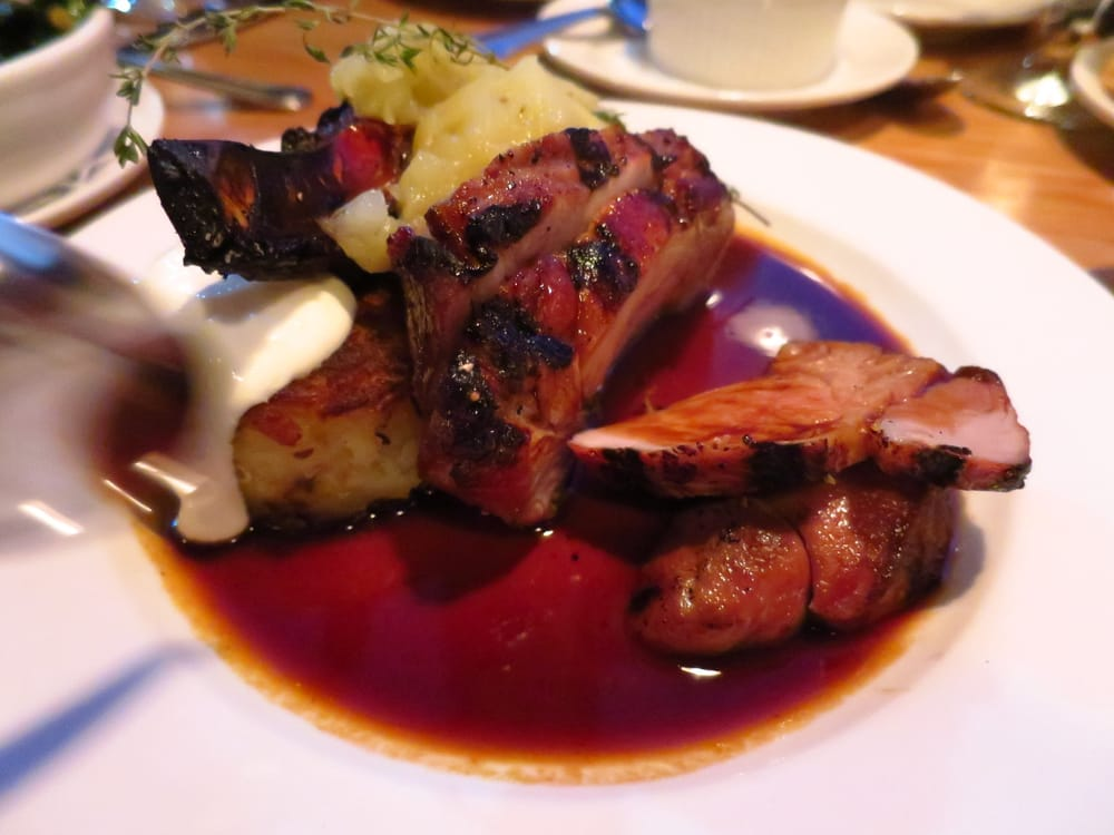 Grilled pork chop baked apple apple sauce potato for 12th ave grill open table