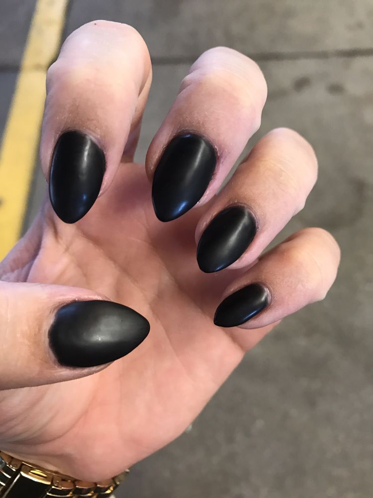 Matte black pointed acrylics - Yelp