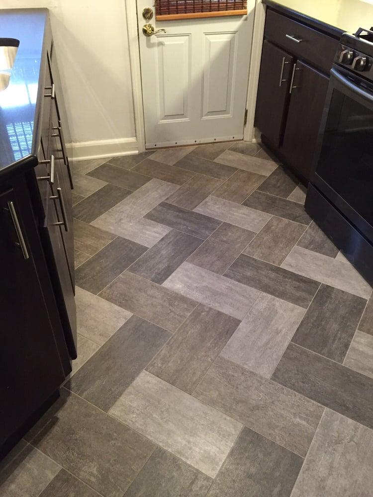 Custom herringbone alterna tile in three colors in a for Floor 2 pittsburgh