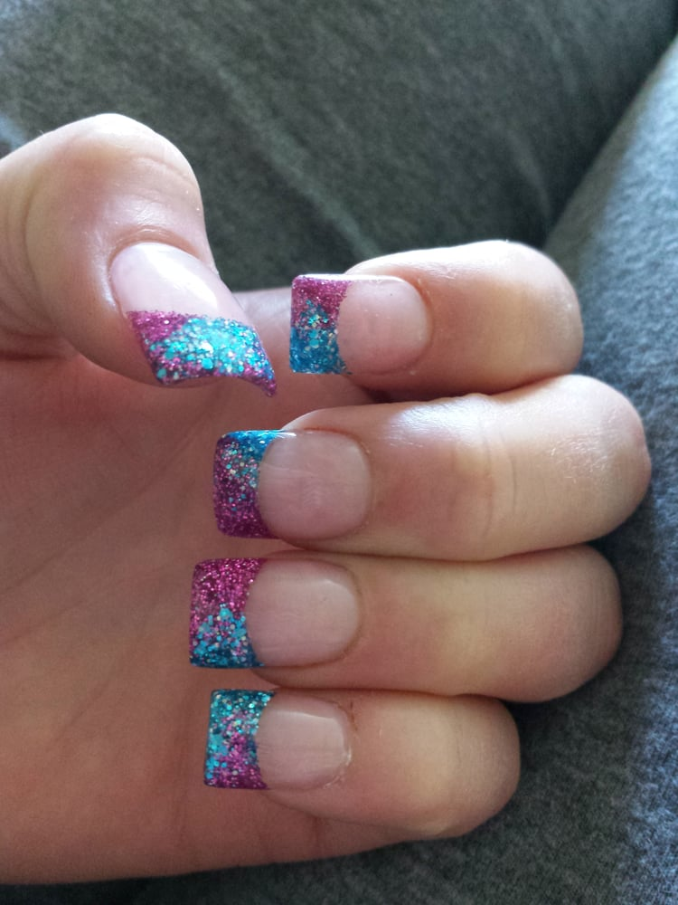 Rockstar acrylic nails, 2 blended colors at the tip and light pink ...