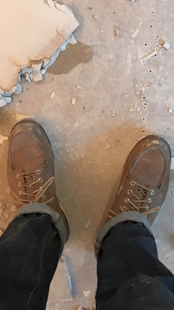 What the boots looked like after drywall  Mostly just