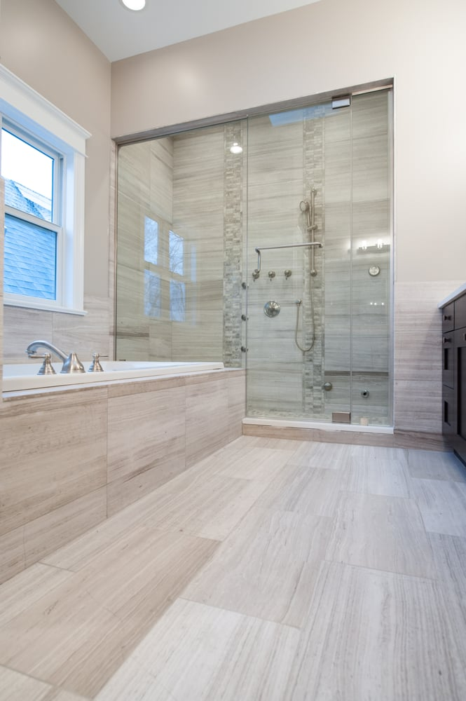 Bathroom Featuring In Stock White Oak Stone Tile Yelp
