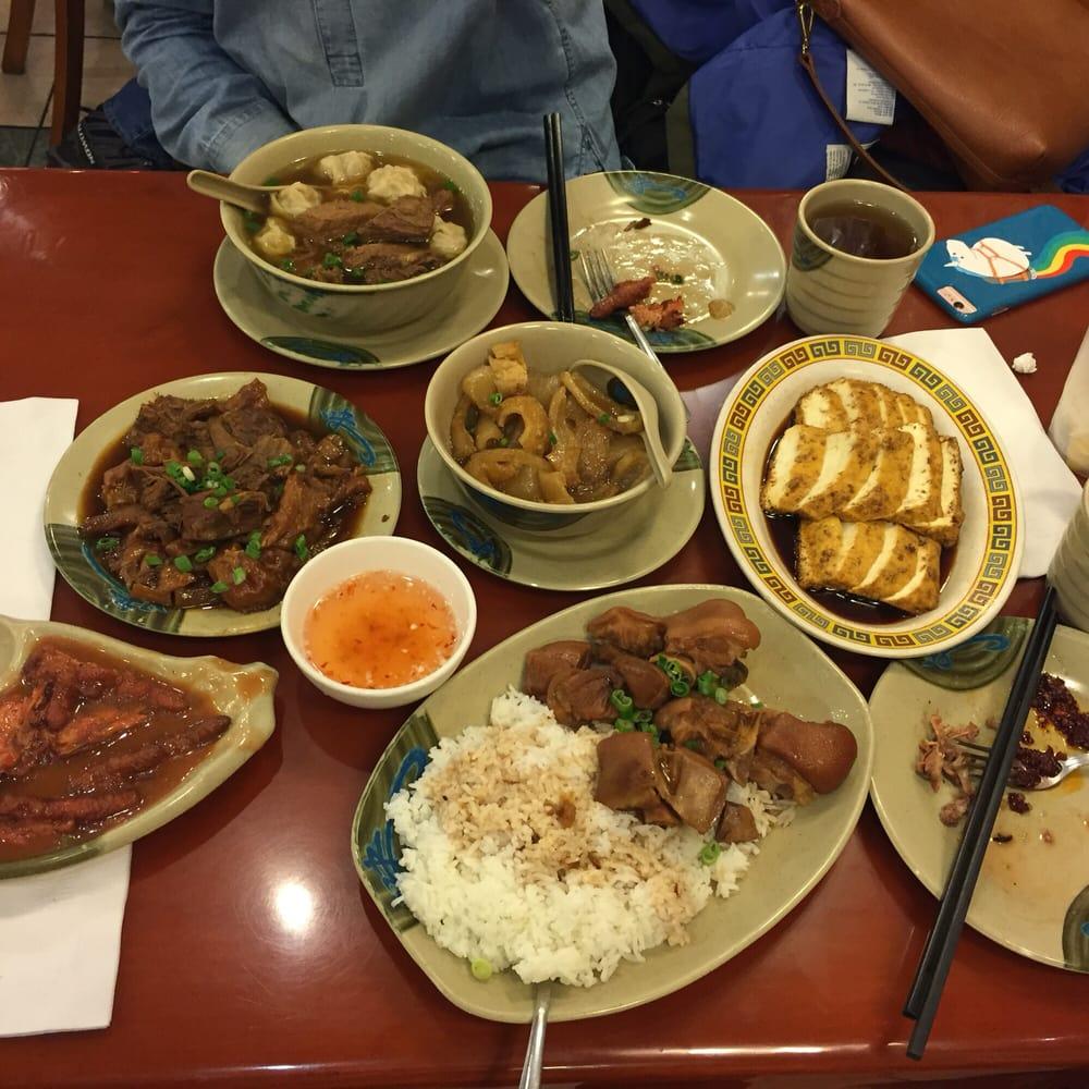 Pork feet rice, beef tendon, wonton noodle soup, radish and pork ...