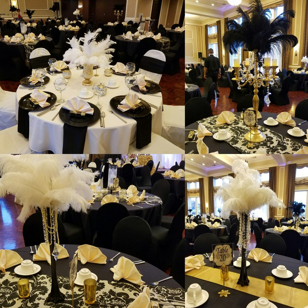 Gala Decor With Feathers In White And Black. Gold Damask