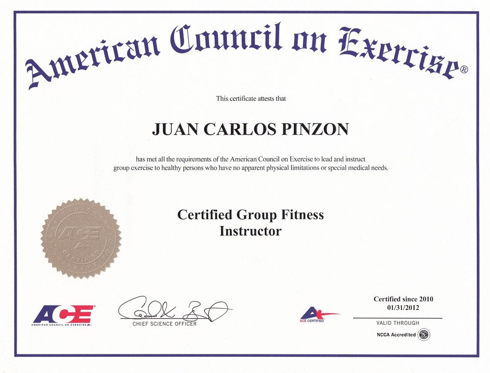 Certified Group Fitness Instructor By The American Council Of