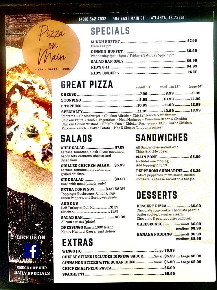 Pizza On Main: 406 C E Main St, Atlanta, TX