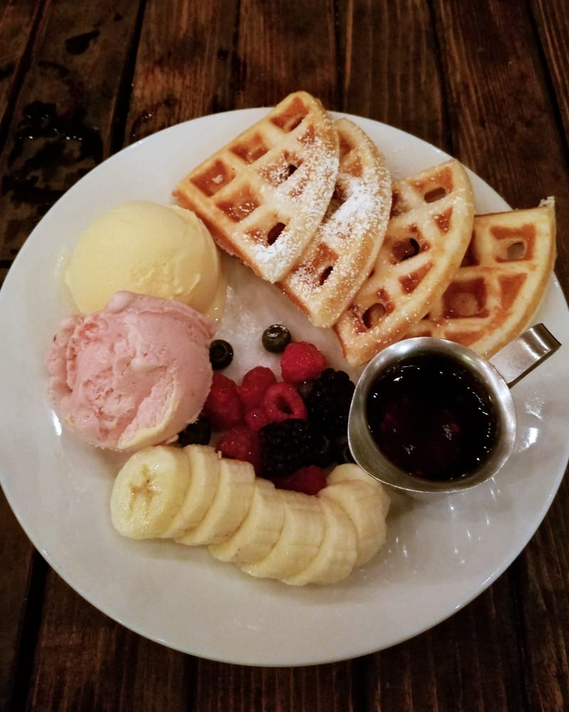 Belgian Waffles With Fruits And Ice Cream