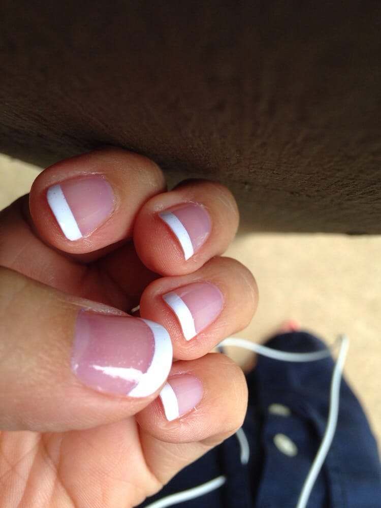 French tip mani: hate the air bubbles on every nail (the weird white ...