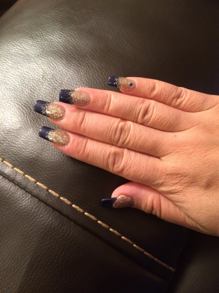 Nail selfie! Navy blue with gold ombré... - Yelp