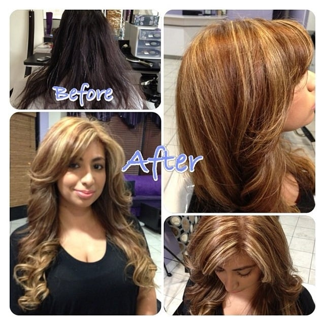 From black to caramel blonde hair color highlights done at glam 204 photos for glam laser beauty studio urmus Images