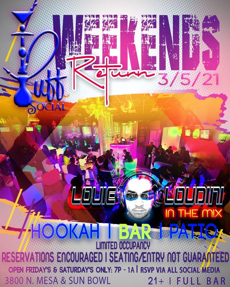 Puff Social Hookah & Cocktail Lounge: 3800 N Mesa St, El Paso, TX
