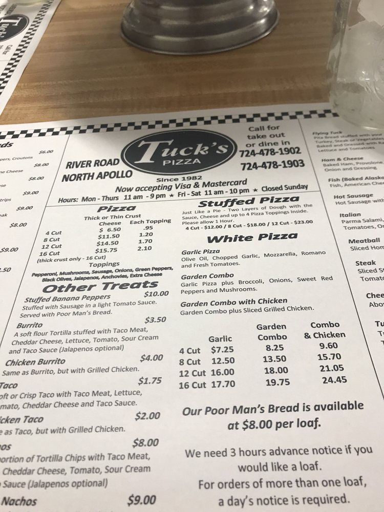 Tuck's Pizza: 1922 River Rd, North Apollo, PA